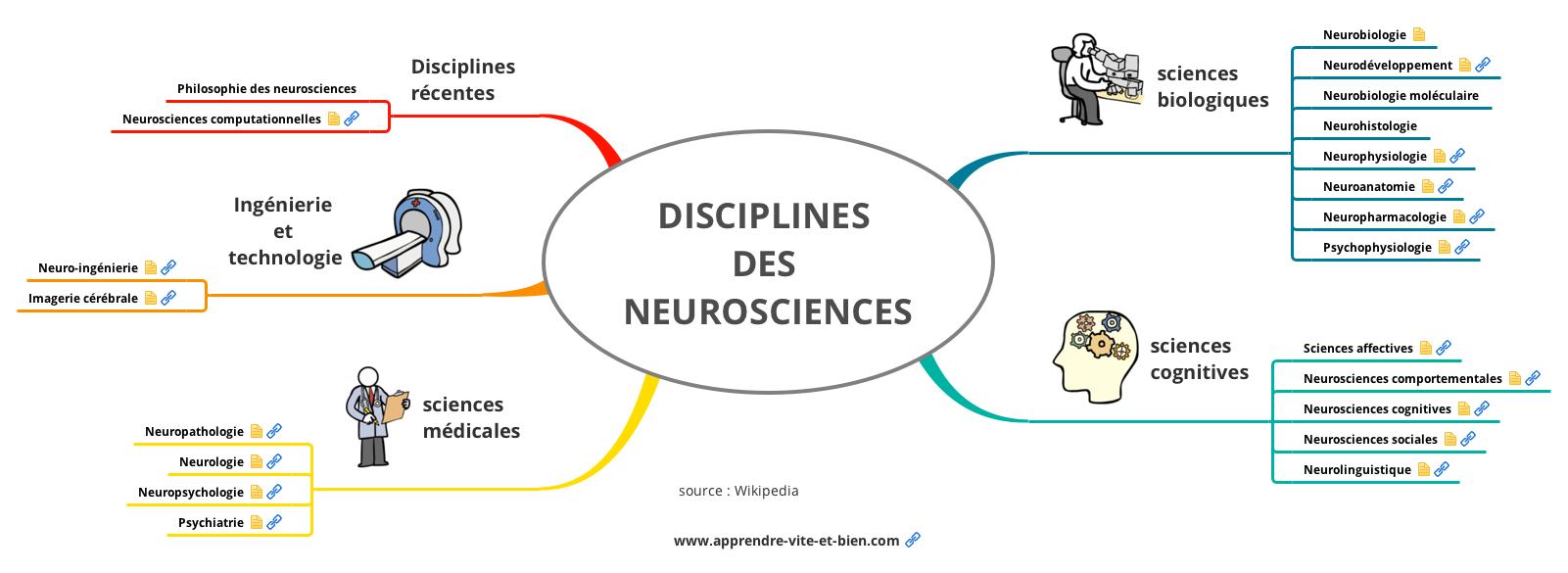 Les disciplines des neurosciences