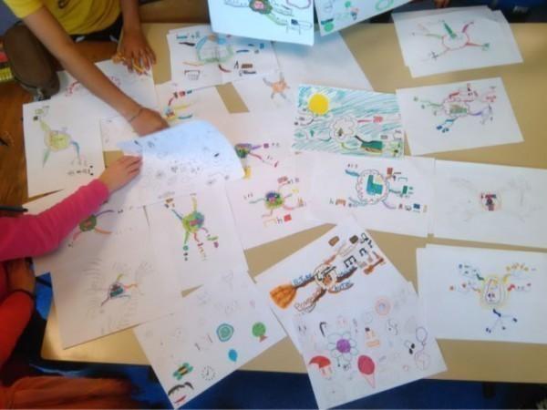 Productions des élèves d'une carte sur leurs centres d'intérêt.