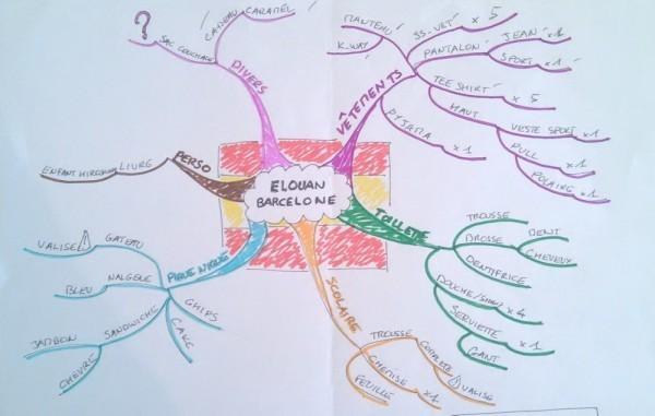 Mind Map de préparation pour un voyage scolaire.